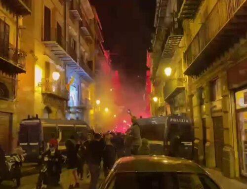 Coronavirus, fumogeni e bombe carta durante protesta a Palermo