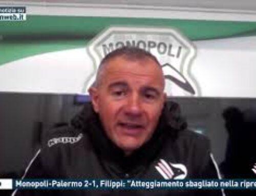 """Calcio – Monopoli-Palermo 2-1, Filippi: """"Atteggiamento sbagliato nella ripresa"""""""