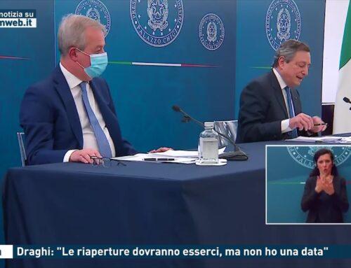 """Roma. Draghi: """"Le riaperture dovranno esserci, ma non ho una data"""""""