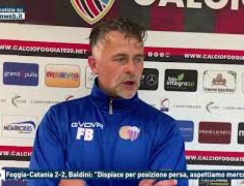 """Calcio – Foggia-Catania 2-2, Baldini: """"Dispiace per posizione persa, aspettiamo mercoledì"""""""