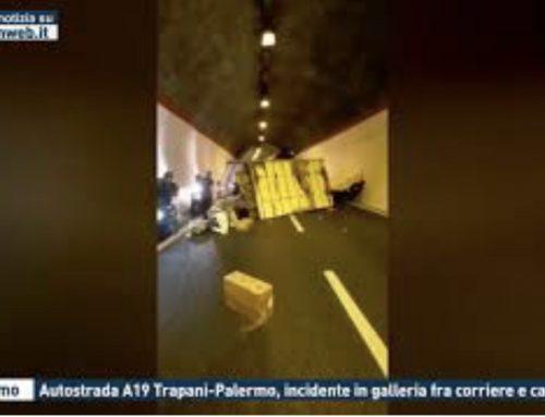 Palermo – Autostrada A19 Trapani-Palermo, incidente in galleria fra corriere e camion