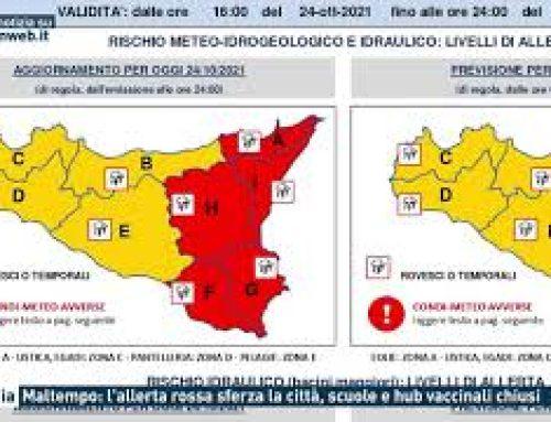 Catania – Maltempo: l'allerta rossa sferza la città, scuole e hub vaccinali chiusi